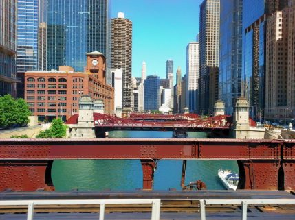 View of the city from the 'L along the Chicago River.