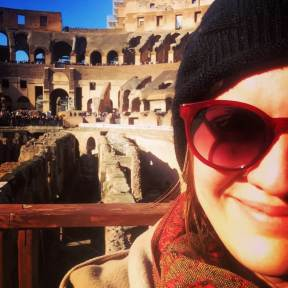On the arena floor of the Colosseum in Rome