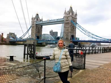Posing in front of the London Bridge