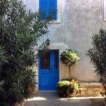 Blue doors and window shutters in Osor, Cres, Croatia