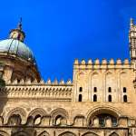 Facade of the Palermo cathedral in Palermo, Sicily