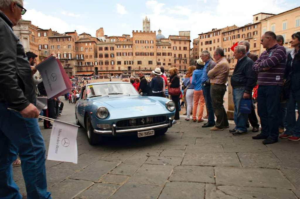 vintage Ferrari in Siena during the Mille Miglia