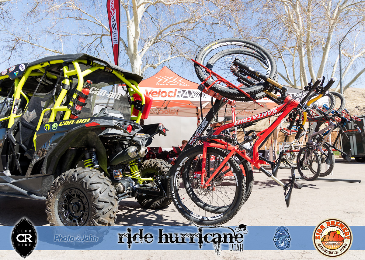 Mountain bikes on a bike rack mounted on a Can-Am side-by-side.