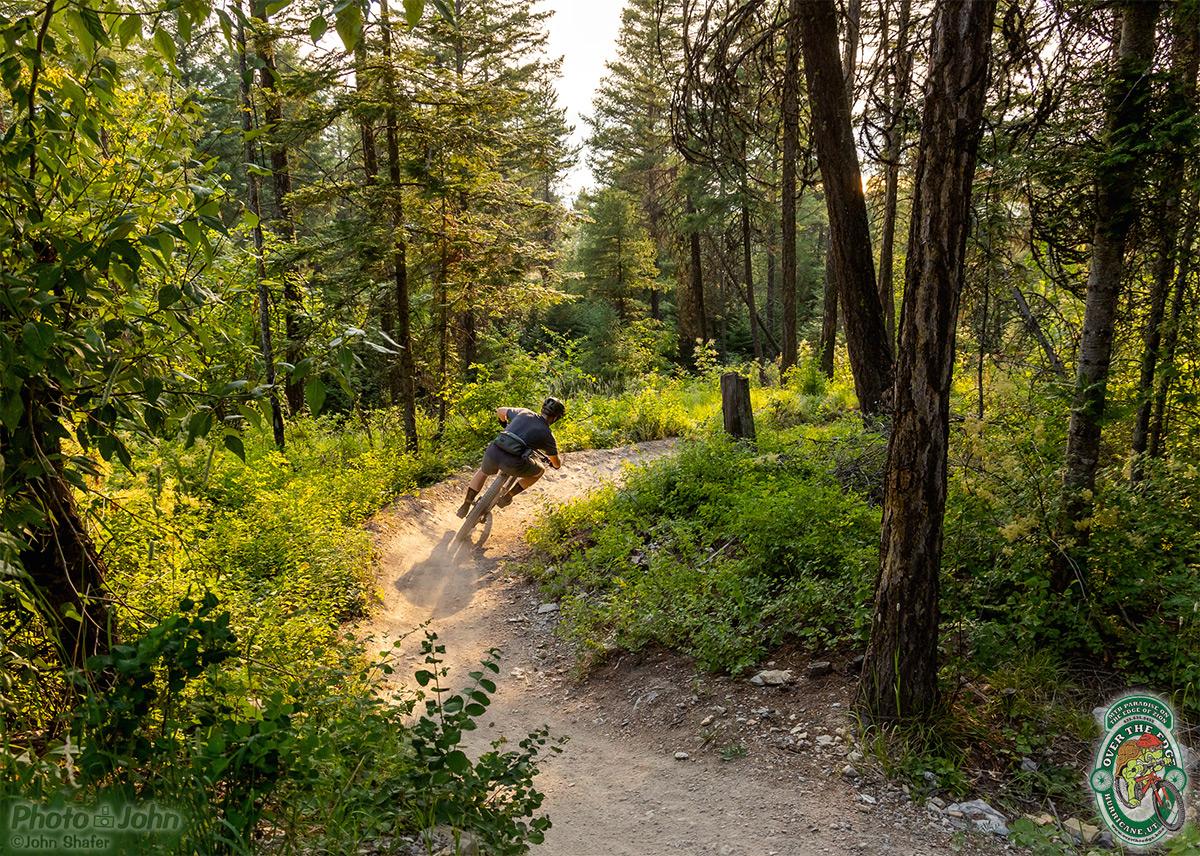 A mountain biker riding a steep berm in a spot of warm evening light in a northern Montana forest trail.