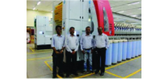 Right to Left: Mr. Sreenu Lingam, Mr. Sanjeev Jain, Mr. Jaikishan Gupta, Mr. Girish Katti in the new rotor spinning mill of Welspun at Anjar