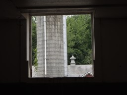Silo through the window.