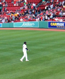David Ortiz performs pre-game warmups