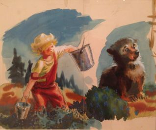 Sal and bear cub (studies for Blueberries of Sal), about 1948