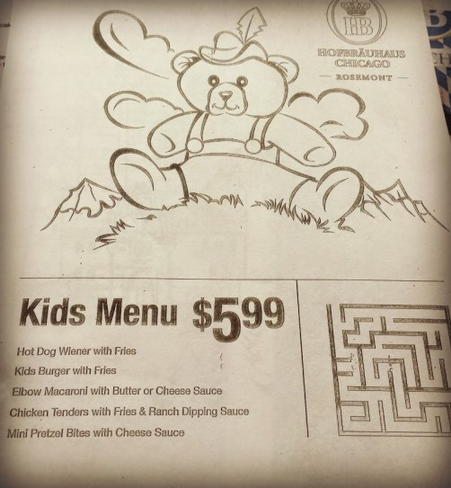 Hofbrauhaus Chicago Kids Menu