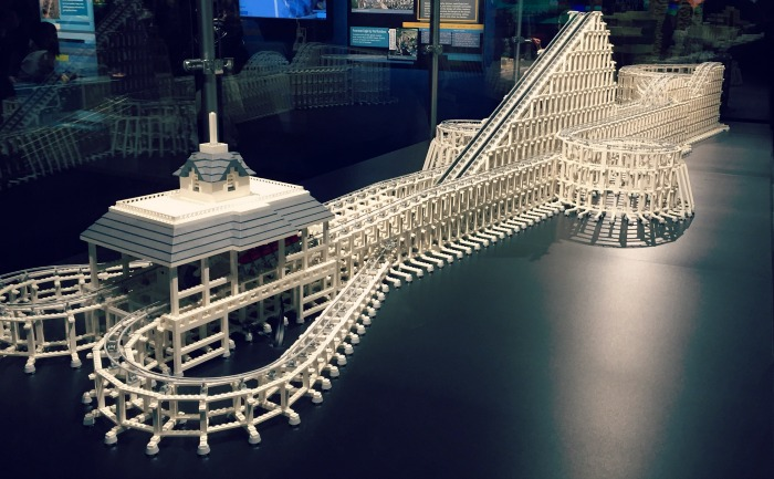 A roller coaster made of LEGOs at the Museum of Science and Industry's Brick by Brick exhibit.