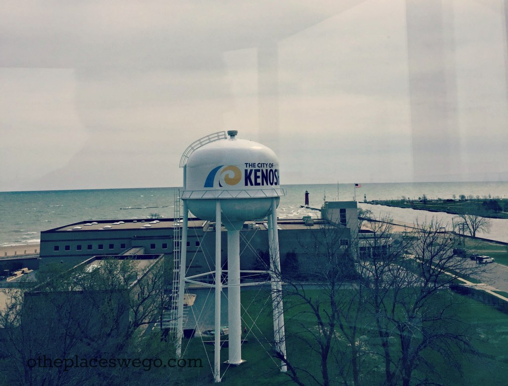 Kenosha Southport Lighthouse - View of Lake Michigan and Red Lighthouse
