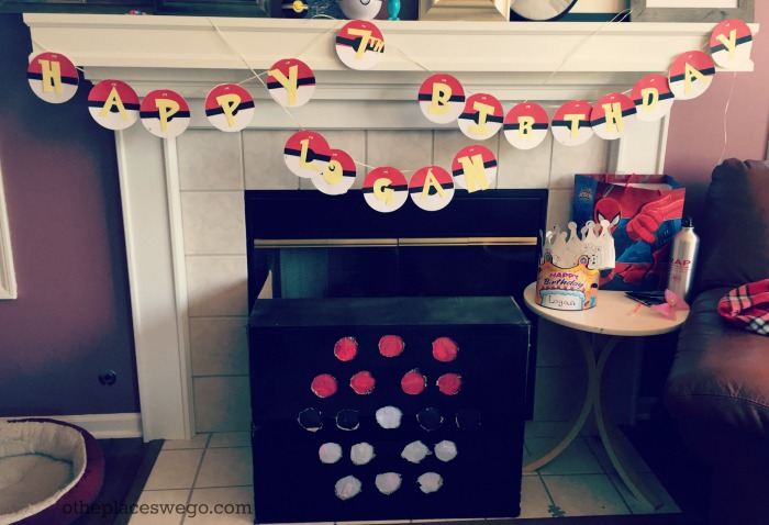 Pokemon Birthday Party - Fireplace Decor with Punch Game and Birthday Banner