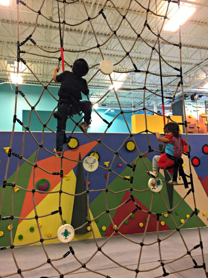 Fun at Funtopia Naperville, the newest adventure park to hit Chicagoland with climbing walls, ninja course, ropes course, and toddler area.