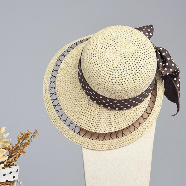 LYZA Women Summer Hollow Wide Brim Beach Sun Hat Casual Travel Visor Panama Straw Hat