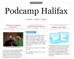 The Podcamp Halifax Website