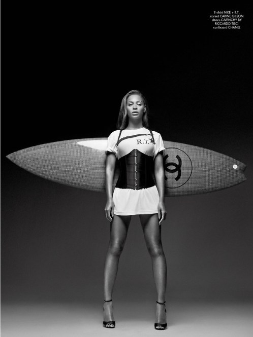 """Ridin' it with my surfboard""? This time, Beyonce's surfboard is riding with her..."