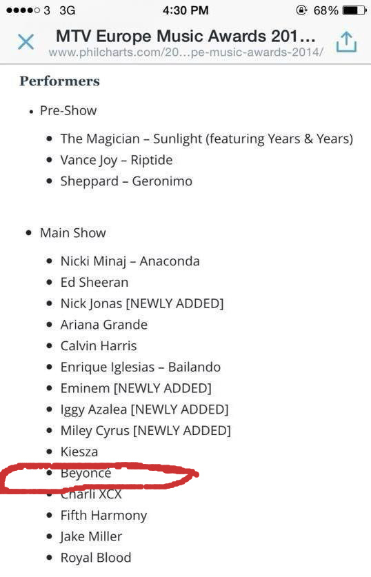 Is Beyonce Performing at MTV EMAs