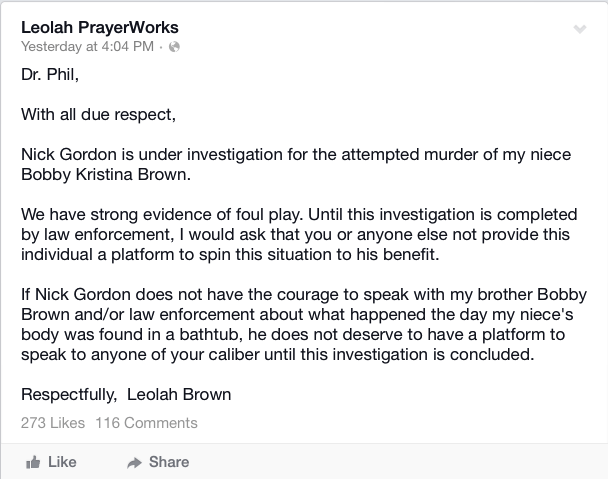 Leolah's statement
