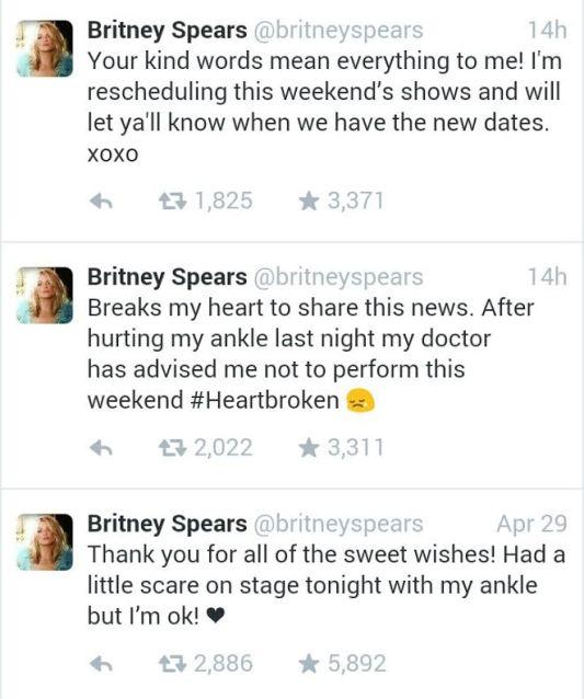 Britney Spears tweet ankle