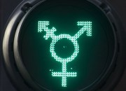 A traffic light crossing shows a transgender symbol, a combination of the male and female sign with a third, combined arm representing non-binary transgender people. Diversity pedestrian traffic signals, London, UK - 27 Jun 2016   (Rex Features via AP Images)