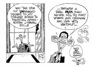 Unmanly Drones, an OtherWords cartoon by Khalil Bendib