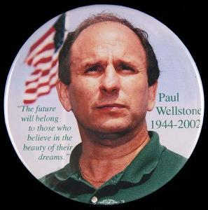 Pinback button created in memory of U.S. senator Paul Wellstone, killed in a plane crash on October 25, 2002. Photo by Minnesota Historical Society.