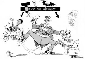 Trick or Mistreat, an OtherWords cartoon by Khalil Bendib
