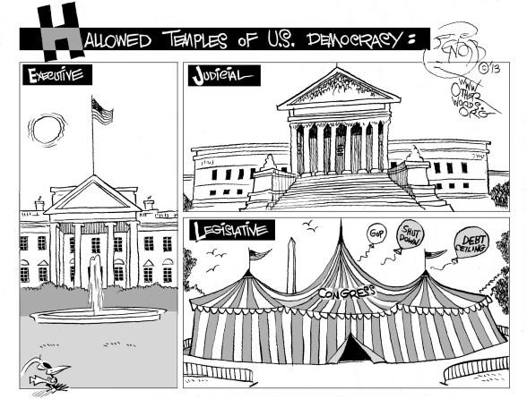 Monumental Government, an OtherWords cartoon by Khalil Bendib