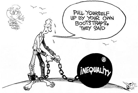 When Bootstraps Don't Work, an OtherWords cartoon by Khalil Bendib
