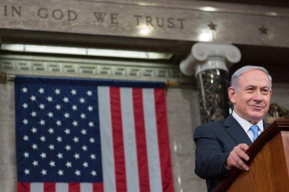 American Flag behind Benjamin Netanyahu