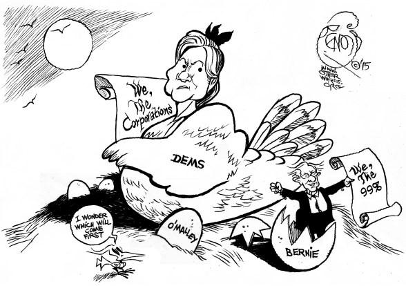 Hillary or Bernie, an OtherWords cartoon by Khalil Bendib
