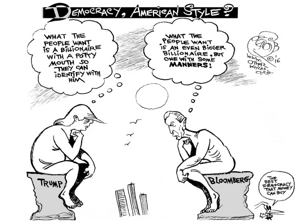Billionaire vs. Billionaire, an OtherWords cartoon by Khalil Bendib.