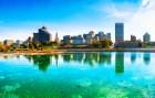 Memphis, Tennessee skyline overlooking greenish water