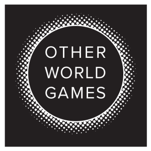 Logo, Otherworld Games in block text inside an eclipse