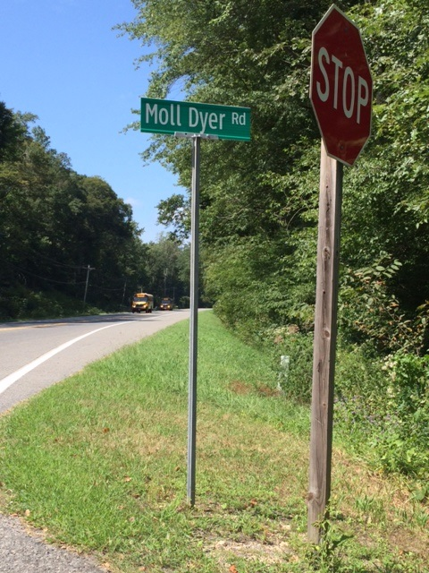 Moll Dyer Road in Leonardtown, MD where the witch Moll Dyer is thought to have lived.