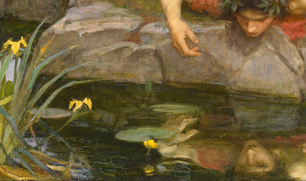 Narcissus was a god who saw his own reflection and fell in love. This is one of the first references to magic mirrors in mythology.