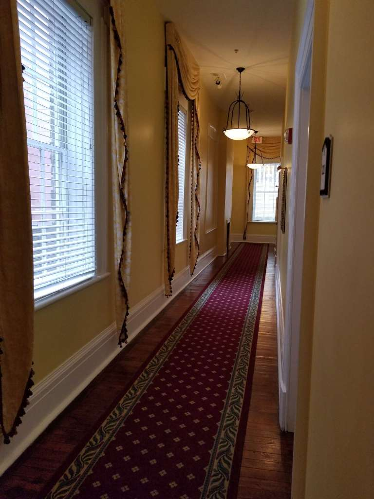 A hallway in the Haunted Marshall House Hotel where I heard a ball bouncing.