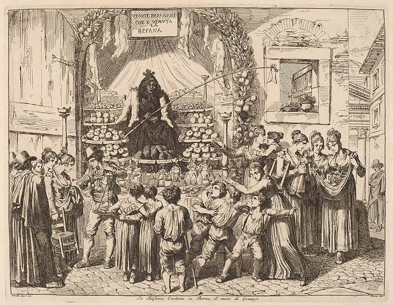 An 1821 rendering of the Christmas witch La Befana.