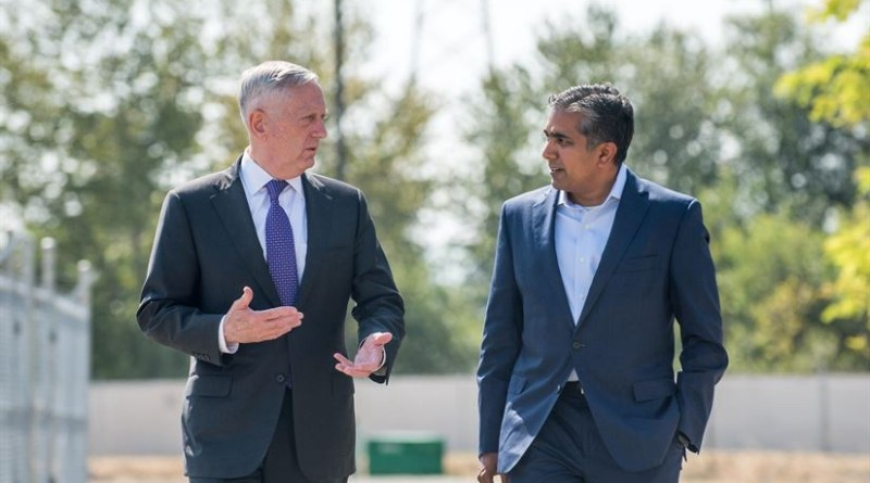 Defense Secretary Jim Mattis speaks with Raj Shah, then managing partner of Defense Innovation Unit Experimental (DIUx), at the organization's headquarters in Mountain View, Calif., Aug. 10, 2017. DoD photo by Air Force Staff Sgt. Jette Carr
