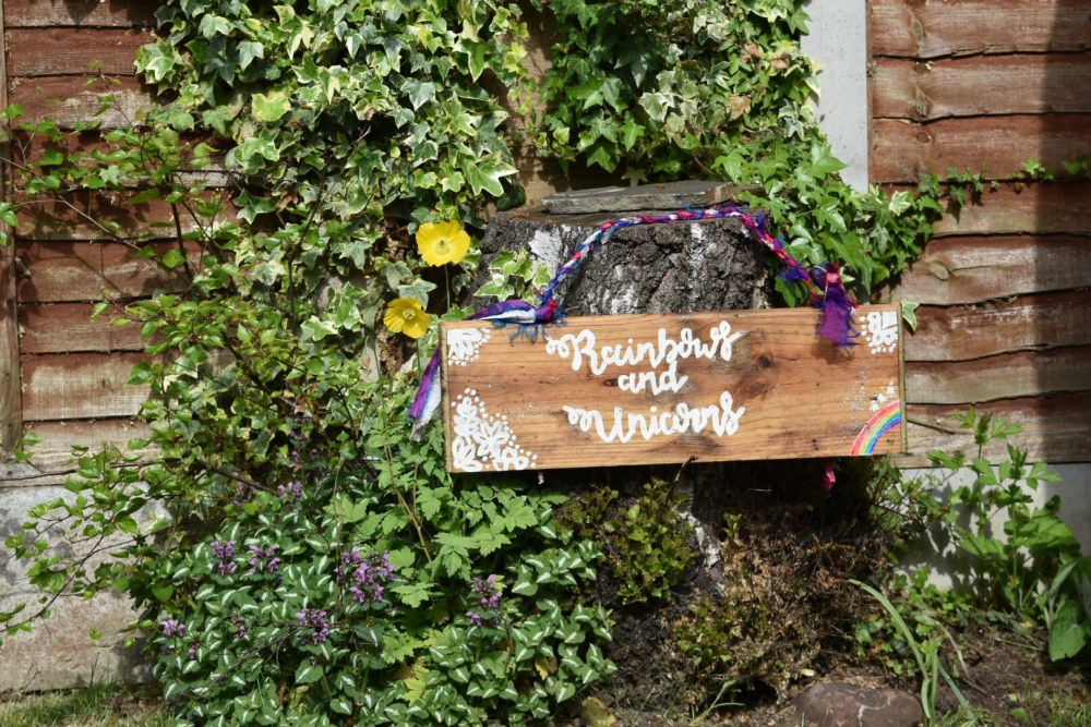outdoor wooden sign for an outdoor birthday party in your back garden