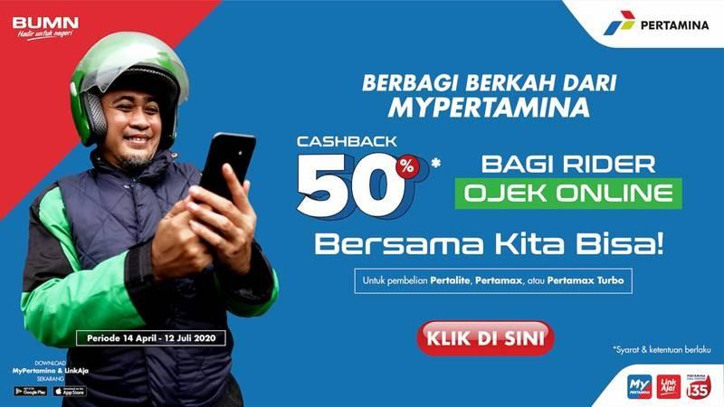 Pertamina Beri Cashback 50% Buat Ojek Online