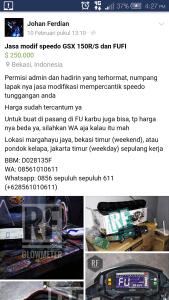 Posting facebook johan ferdian modifikasi speedometer gsxr150