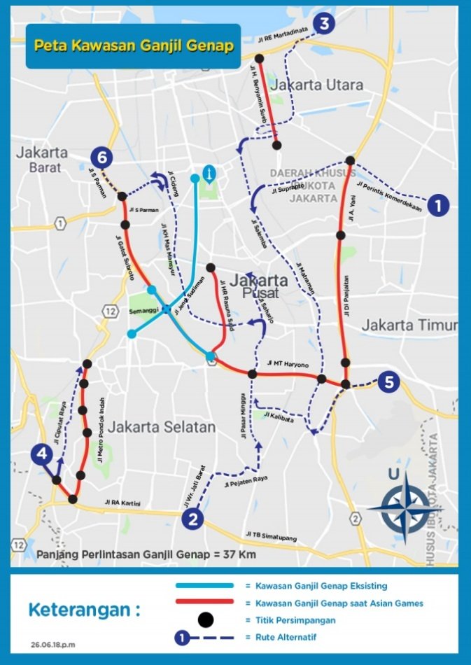 Rute Alternatif Pengalihan Lalu Lintas Ganjil Genap Jakarta