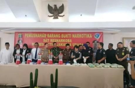Polres Jakarta Utara Lakukan Pemusnahan Barang Bukti 16,4 kg Sabu-sabu dan 1.900 Pil Ekstasi