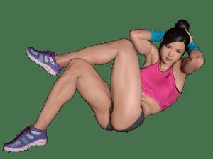 HMBサプリを飲んで腹筋を鍛えている女性の画像