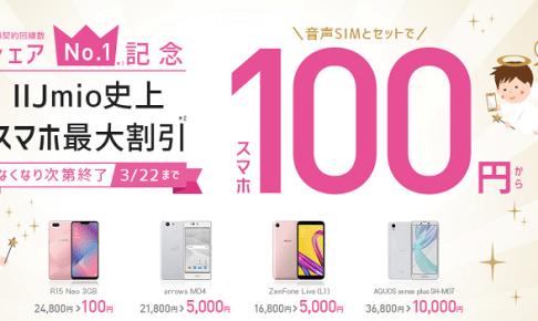 シェアNo.1記念 人気スマホ100円キャンペーン告知画像