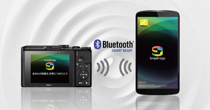専用アプリ「SnapBridge app」で常時接続。カメラで撮影した画像をスマートフォン/タブレットに自動転送が可能に。Nikon公式ホームページより