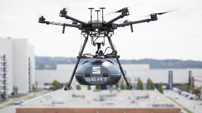 drone transport at the seat factory