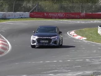 New Audi RS3 Sportback Displayed on Track with Camouflage