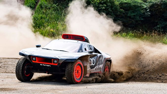 audi rs qe tron, which will take the stage in the dakar rally, has been tested